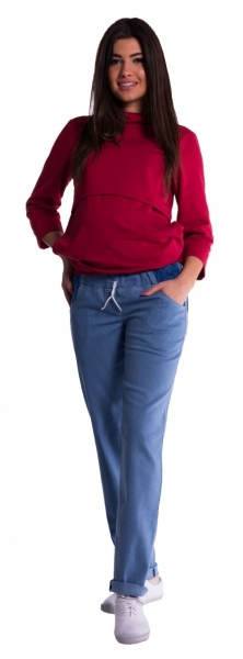 Be MaaMaa Tehotenské nohavice letné bez brušného pásu -  svetly jeans