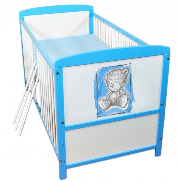 Drevená postieľka 2 v 1 Nellys Sweet Dreams by Teddy - modrá / biela, 120x60