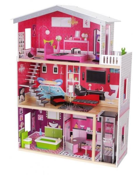 Drevený domček pre bábiky s výťahom ECO TOYS - Rezidencie Malibu