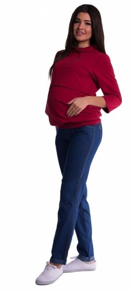 Be MaaMaa Tehotenské nohavice letné bez brušného pásu -  tmavý jeans