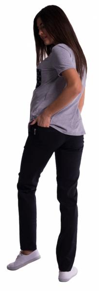 Tehotenské nohavice s mini tehotenským pásom - čierne