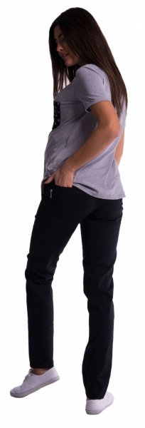 Tehotenské nohavice s mini tehotenským pásom - čierné, M