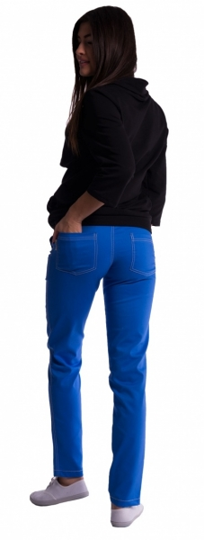 Tehotenské nohavice s mini tehotenským pásom - modré, S