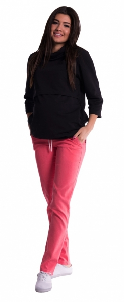 Tehotenské nohavice s mini tehotenským pásom - ružové, XL