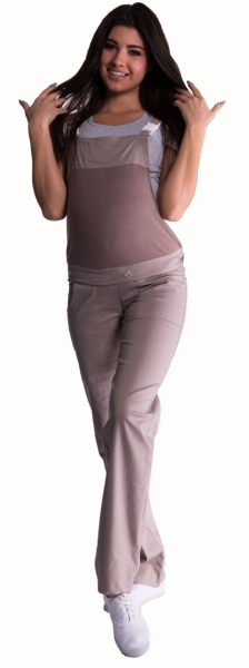 Tehotenské nohavice s trakmi - béžové, S