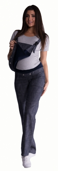 Tehotenské nohavice s trakmi - biele