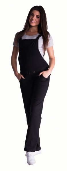 Tehotenské nohavice s trakmi - čierné