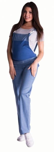 Tehotenské nohavice s trakmi - svetly jeans, veľ. XXXL