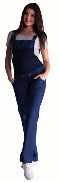 Be MaaMaa Tehotenské nohavice s trakmi - tmavý jeans-L (40)
