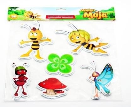 Teddies Pěnové dekorace na zeď Včelka Mája Čtyřlístek 5ks v sáčku