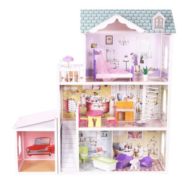 Drevený domček pre bábiky s garážou ECO TOYS - Rezidencie Beverly Hills