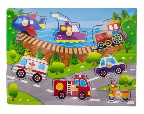 Drevené zábavné puzzle  vkladacie EURO BABY - transport