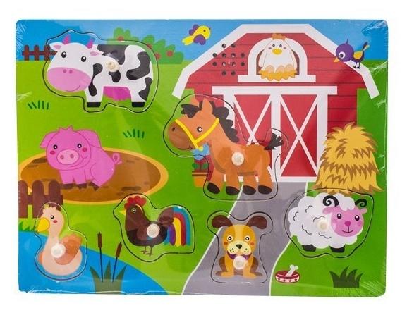 Drevené zábavné puzzle vkladacie so zvukom Euro Baby - farma