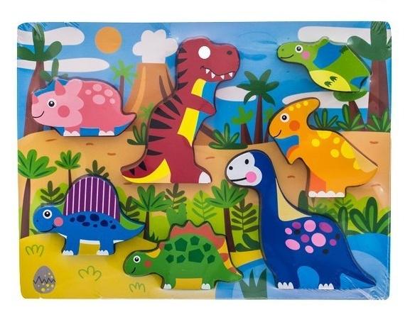 Drevené zábavné puzzle  vkladacie EURO BABY - Dinosaury