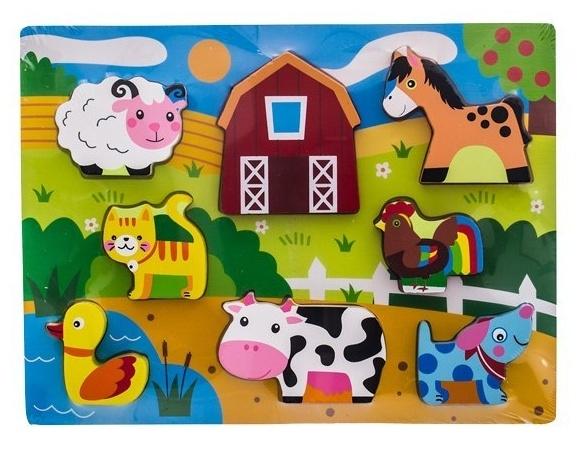 Drevené zábavné puzzle  vkladacie EURO BABY - Zvieratka na statku
