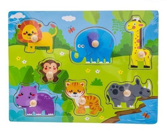 Drevené zábavné puzzle  vkladacie EURO BABY - Safari