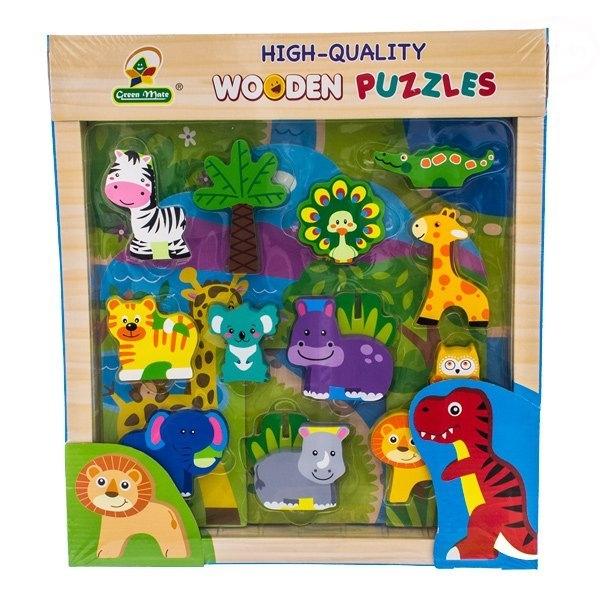 Drevené zábavné puzzle,kocky  vkladacie EURO BABY - Jungle