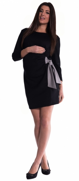 00f3828643dc Tehotenské šaty s mašľou - čierne veľ.