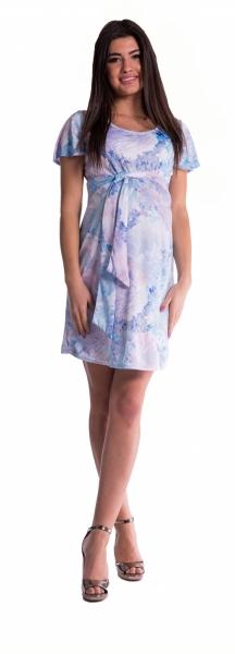 Tehotenské šaty s kvetinovou potlačou s mašľou - blankyt-S