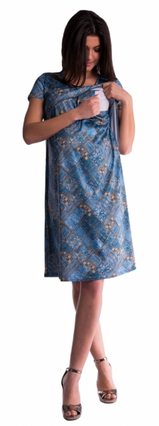 Be MaaMaa Tehotenské a dojčiace šaty s kvetinovou potlačou - tm. modré