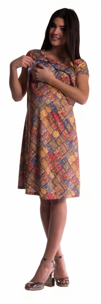 Tehotenské šaty vhodné ja na dojčenie s kvetinovou potlačou - tehlové