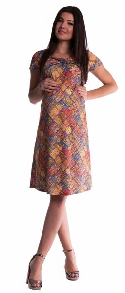 Be MaaMaa Tehotenské a dojčiace šaty s kvetinovou potlačou - tehlové