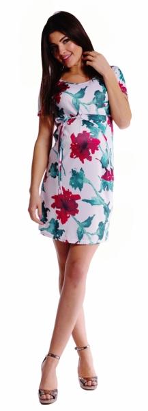Tehotenské šaty s viazaním s kvetinovou potlačou - červené
