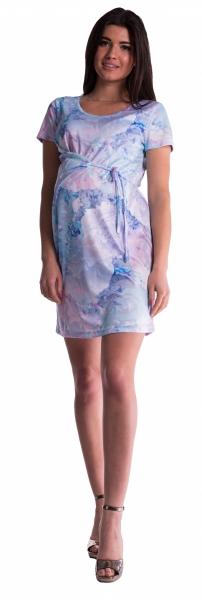 Tehotenské šaty s viazaním s kvetinovou potlačou - blankyt-L