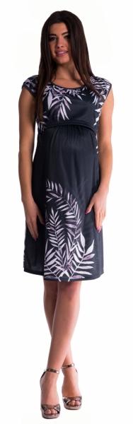 Tehotenské šaty vhodné aj na dojčenie palma - čierne
