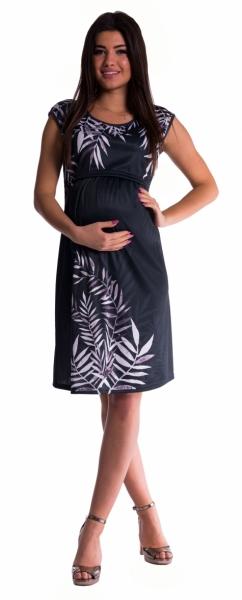 Be MaaMaa Tehotenské a dojčiace šaty palma - čierne