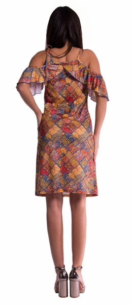 Be MaaMaa Tehotenské šaty s volánikovým rukávmi - tehlové