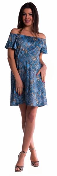 Tehotenské šaty s odhalenými ramenami - tm. modré
