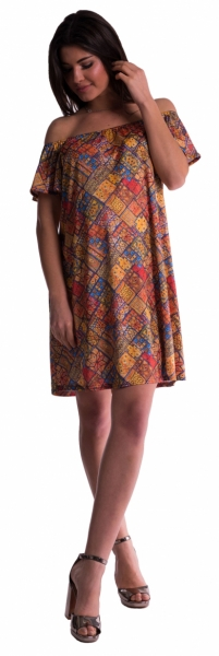 Be MaaMaa Tehotenské šaty s odhalenými ramenami - tehlové
