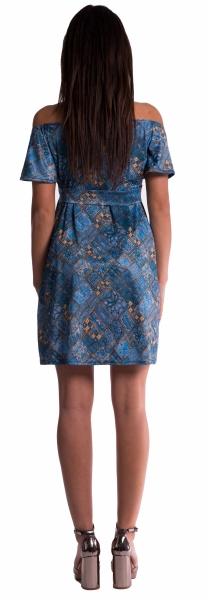 Tehotenské šaty s odhalenými ramenami - tehlové