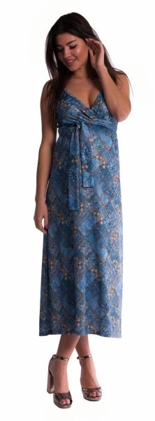 Dlhé tehotenské šaty s ramienkami - tm. modré