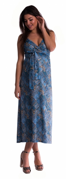 Dlhé tehotenské šaty s ramienkami - tm. modré-L/XL