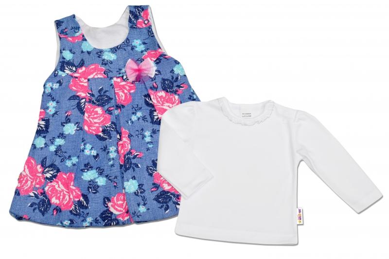 2D Súprava Šatôčky + košieľka Baby Nellys ® - modré s kvetinami