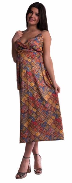 Tehotenské šaty s ramienkami dlhé - tehlové