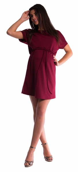 Tehotenské šaty s viazaním - bordó XS empty dfa67b58000