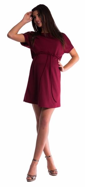 Tehotenské šaty s viazaním - bordó-XL (42)