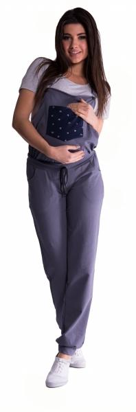 Tehotenské teplákové nohavice s trakmi - metalická oceľ-L (40)