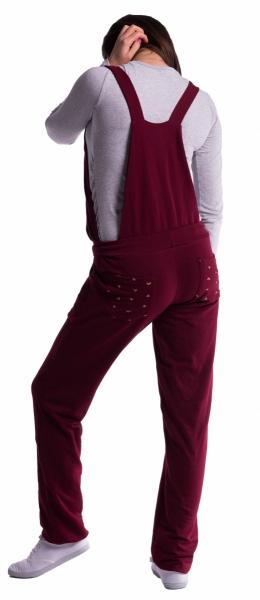 Tehotenské teplákové nohavice s trakmi - sivé