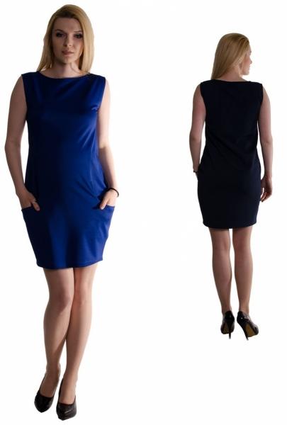 Tehotenské letné šaty s vreckami - čierne