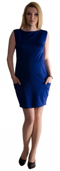 Tehotenské letné šaty s vreckami - tmavo modré