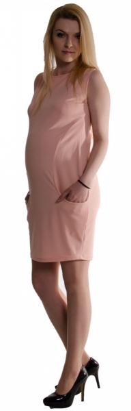 Tehotenské letné šaty s vreckami - púdrovo ružové