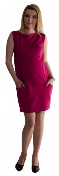 Tehotenské letné šaty s vreckami - purpurové