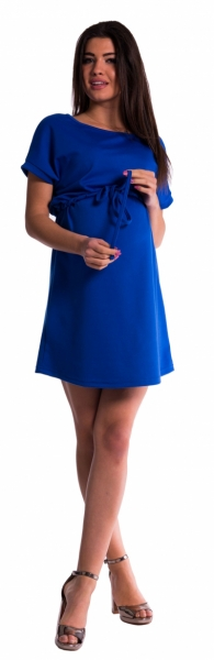 Be MaaMaa Tehotenské šaty s viazaním - tm. modré