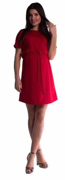 Be MaaMaa Tehotenské šaty s viazaním - červené-M (38)
