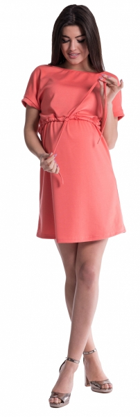 Tehotenské šaty s viazaním - koral