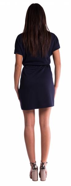 Tehotenské šaty s viazaním - petrolej